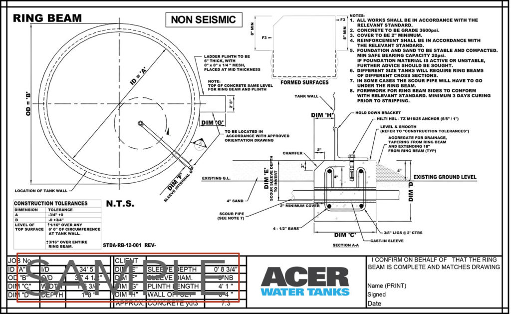 Water Tank Foundations : Resources acer water tanks