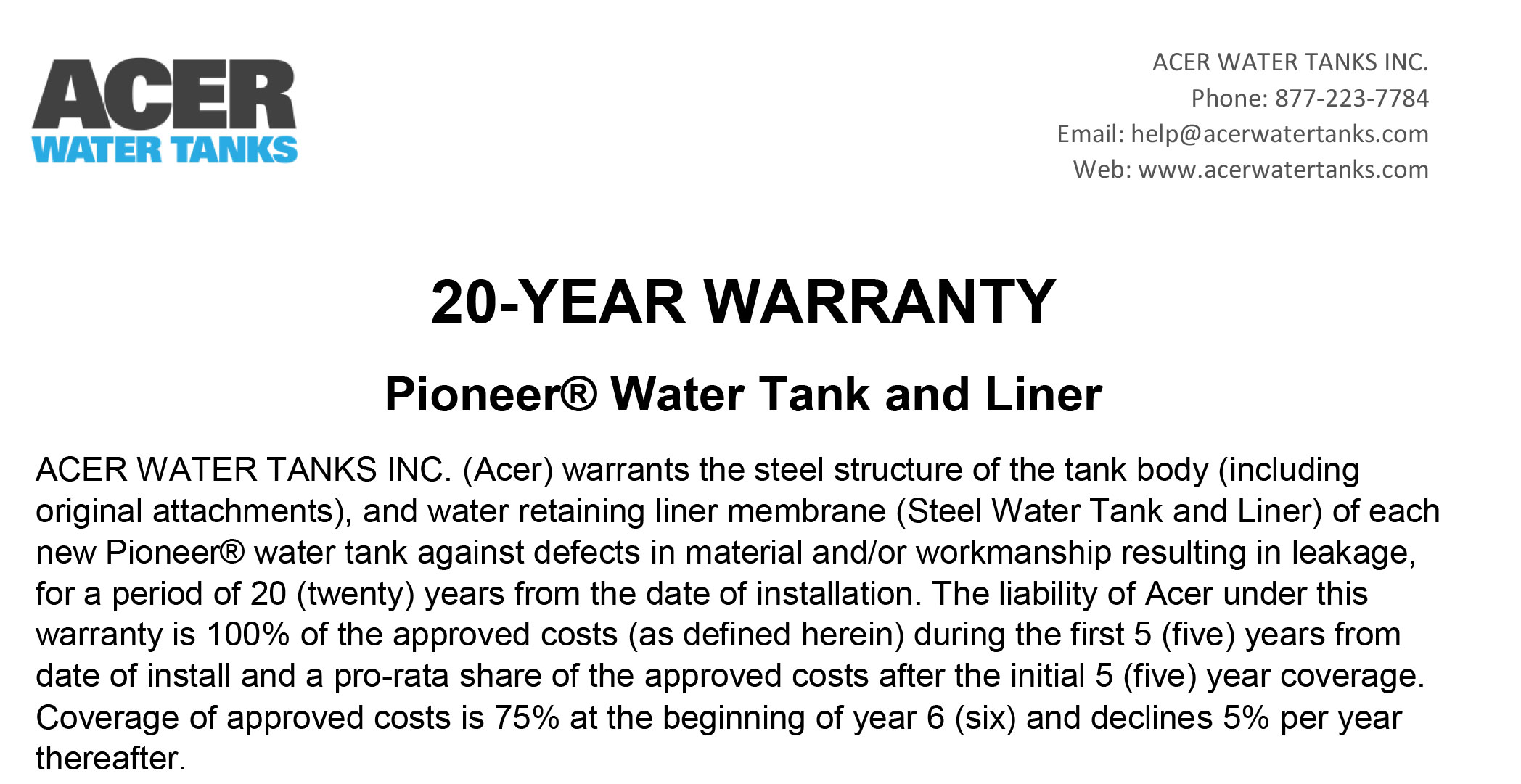 Pioneer Water Tanks Warranty with Acer