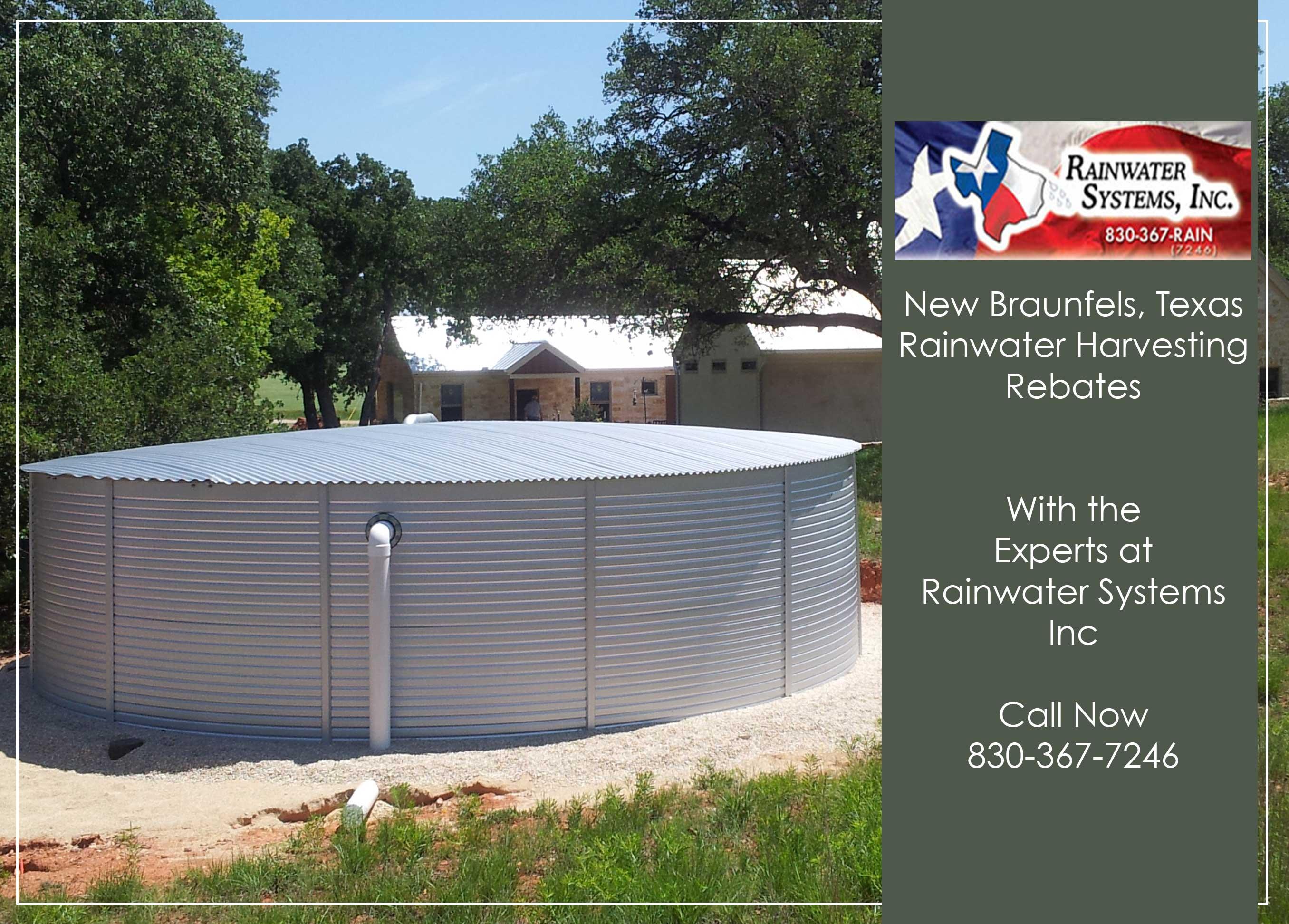 New Braunfels Texas Rainwater rebates with Rainwater Systems Inc