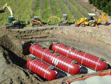 Winery underground water tanks potable tanks