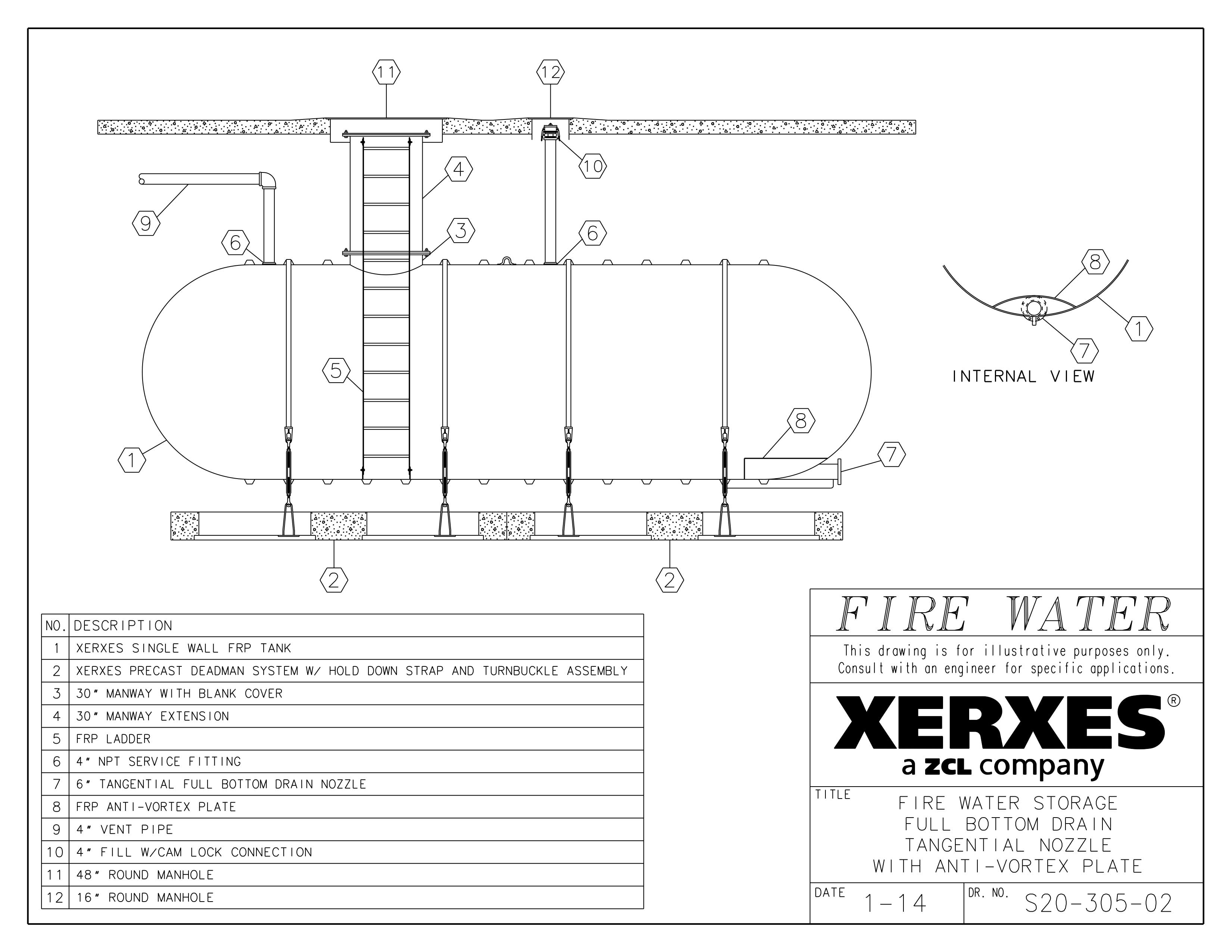 Xerxes Fire Protection Water Anti Vortex Acer Water Tanks