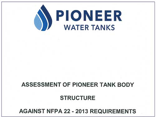 Pioneer Water Tanks fire protection requirements
